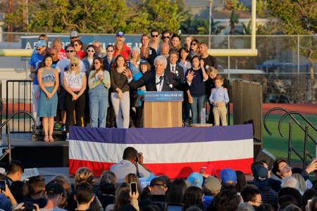 SANTA MONICA, CA - MAY 23, 2016: TV Actor & Comedian Dick Van Dyke introduces US Democratic presidential candidate Bernie Sanders (D - VT) at a Presidential rally at Santa Monica High School Football Field in Santa Monica, California. Editorial