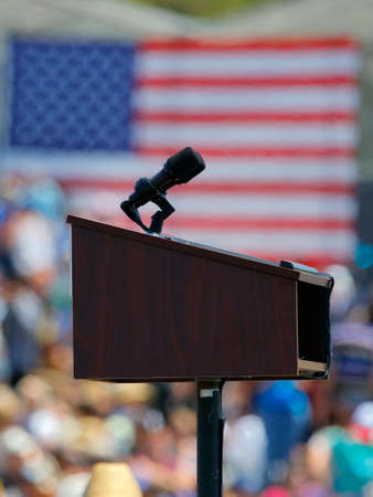 political rally: VENTURA, CA - MAY 26, 2016: Empty Podium & US Flag at Bernie Sanders campaign rally at Ventura College, in preparation for June 7 California Primary Election. Editorial