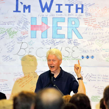 political rally: LOS ANGELES, CA - JUNE 3, 2016 - Woodland Hills: For President Bill Clinton speaks at rally for Secretary State Hillary Clintons Presidential Campaign Editorial
