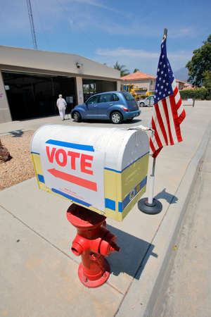 voting booth: NTURA COUNTY, CA - JUNE 7, 2016 -- Santa Paula Polling Fire Station California primary voting on June 07, 2016 in Ventura County