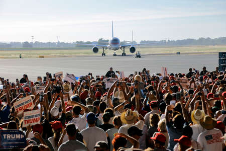 arrives: SACRAMENTO, CA - JUNE 01, 2016: Republican Presidential candidate Donald Trump arrives at a campaign rally in his  jet at airport hanger in Sacramento, California Editorial