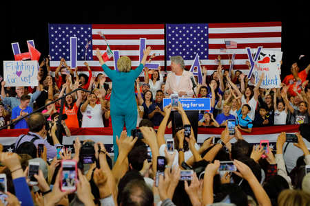 introduces: OXNARD, CA - JUNE 04, 2016: Congresswoman Julia Brownley introduces former Secretary of State Hillary Clinton and Democratic Presidential Candidate before she speaks at a Get out the Vote rally at Hueneme High School in Oxnard, California.
