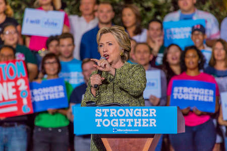 campaigning: OCTOBER 12, 2016, Democratic Presidential Candidate Hillary Clinton campaigns at the Smith Center for the Arts, Las Vegas, Nevada Editorial