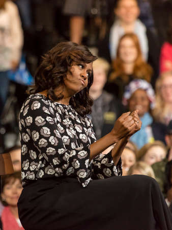 WINSTON-SALEM, NC - OCTOBER 27 , 2016: F irst Lady Michelle Obama appear at a presidential campaign event for Hillary Clintons Presidential Campaign