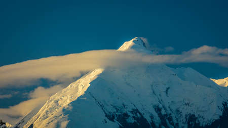 AUGUST 28, 2016 - Mount Denali previously known as Mount McKinley, the highest mountain peak in North America, at 20, 310 feet above sea level. Alaska Mountain Range, Denali National Park and Preserve.