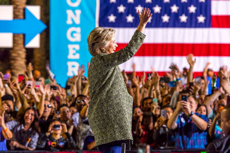 OCTOBER 12, 2016, Democratic Presidential Candidate Hillary Clinton campaigns at the Smith Center for the Arts, Las Vegas, Nevada Editorial