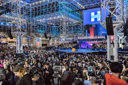 NOVEMBER 8, 2016, Election Night at Jacob K. Javits Center - venue for Democratic presidential nominee Hillary Clinton election night event New York, New York - features Glass Ceiling