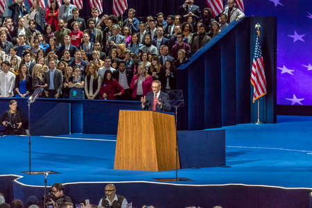 NOVEMBER 8, 2016, Campaign Chairman for Hillary Clinton John Podesta speaks Election Night at Jacob K. Javits Center - venue for Democratic presidential nominee Hillary Clinton election night event New York, New York.
