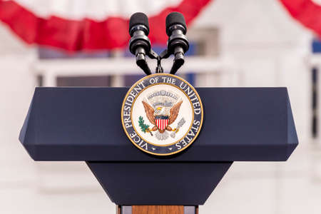 OCTOBER 13, 2016, Vice Presidential Seal and Empty Podium, awaiting Vice President Joe Biden Speech, Culinary Union, Las Vegas, Nevada