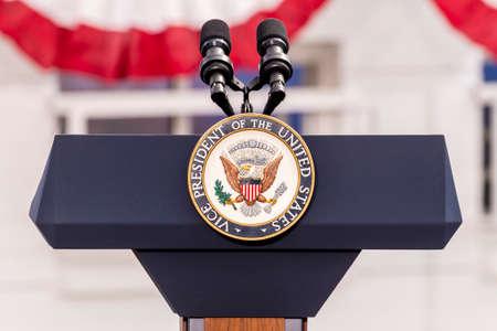 OCTOBER 13, 2016, Vice Presidential Seal and Empty Podium, awaiting Vice President Joe Biden Speech, Culinary Union, Las Vegas, Nevada