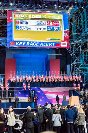 convention center: NOVEMBER 8, 2016, Election Night at Jacob K. Javits Center - venue for Democratic presidential nominee Hillary Clinton election night event New York, New York.
