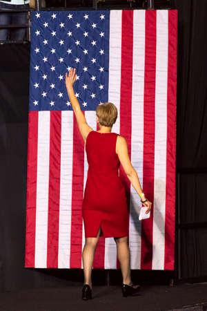WINSTON-SALEM, NC - OCTOBER 27 , 2016: Democratic US Senate candidate Deborah Ross North Carolina introduces Hillary Clinton and Michelle Obama at a presidential campaign event in North Carolina Carolina introduces Hillary Clinton and Michelle Obama at a