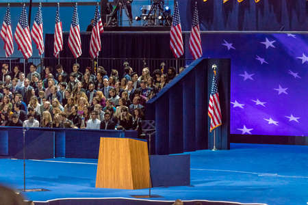 NOVEMBER 8, 2016, Empty Podium Election Night at Jacob K. Javits Center - venue for Democratic presidential nominee Hillary Clinton election night event New York, New York.
