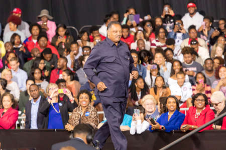 WINSTON-SALEM, NC - OCTOBER 27 , 2016: Civil Rights legend Jessie Jackson appears at a Hillary Clinton and Michelle Obama presidential campaign event in North Carolina Carolina introduces Hillary Clinton and Michelle Obama at a presidential campaign event