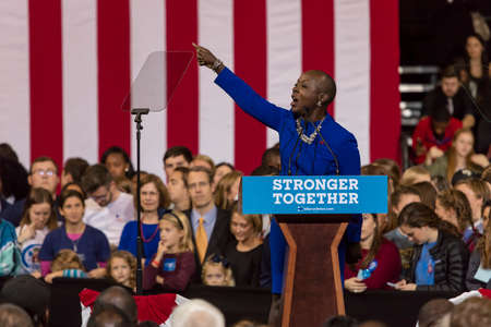 WINSTON-SALEM, NC - OCTOBER 27 , 2016: North Carolina Congress member introduces Hillary Clinton Campaign rally featuring US First Lady Michelle Obama. Editorial