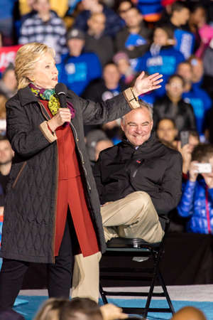 campaigning: PHILADELPHIA, PA - OCTOBER 22, 2016: Hillary Clinton and Tim Kaine campaign for President and Vice-President of the United States at University of Pennsylvania, Philadelphia.