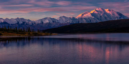 previously: Mount Denali at Wonder Lake, previously known as Mount McKinley, the highest mountain peak in North America, at 20, 310 feet above sea level. Located in the Alaska Range, Denali National Park and Preserve, Alaska - shot at Sunrise.