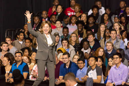WINSTON-SALEM, NC - OCTOBER 27 , 2016: Democratic US Senator Janet Kay Hagan, North Carolina introduces Hillary Clinton and Michelle Obama at a presidential campaign event in North Carolina