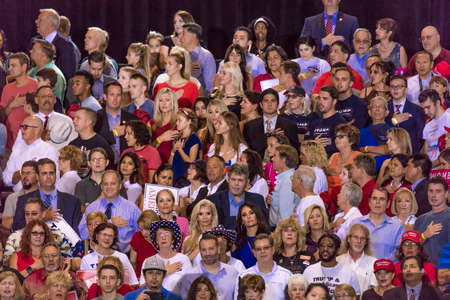 AUGUST 22, 2017, PHOENIX, AZ   U.S. Pledge of Allegiance for President Donald J. Trump at the Phoenix Convention Center Редакционное