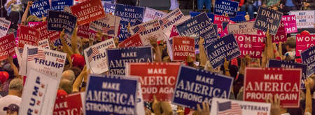 AUGUST 22, 2017, PHOENIX, AZ   U.S. Crowds hold signs for President Donald J. Trump at the Phoenix Convention Center Editoriali