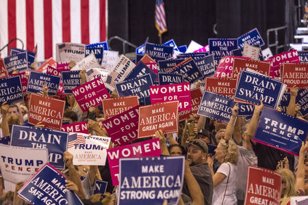 AUGUST 22, 2017, PHOENIX, AZ   U.S. Crowds hold signs for President Donald J. Trump at the Phoenix Convention Center Editorial