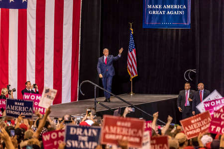 PHOENIX, AZ - AUGUST 22: U.S. Vice President Mike Pence waves & welcomes supporters at a rally by President Donald Trump at the Phoenix Convention Center during a 2020 Trump rally
