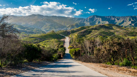 MAY 3, 2018 - OJAI CALIFORNIA - Remote road North towards Santa Barbara from Ojai California