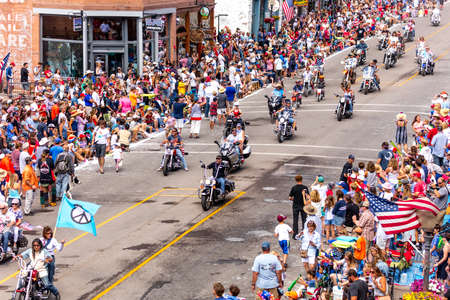 TELLURIDE, COLORADO, USA - July 4, 2018 - Annual  Independence Day Parade, Telluride, Colorado features bikers driving down Colorado Avenue to start parade