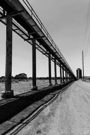 JULY 3, 2018, KAYENTE, ARIZONA., USA - Peabody Western Coal Company, Navajo Route 441, Kayente, Arizona - in black and white Publikacyjne