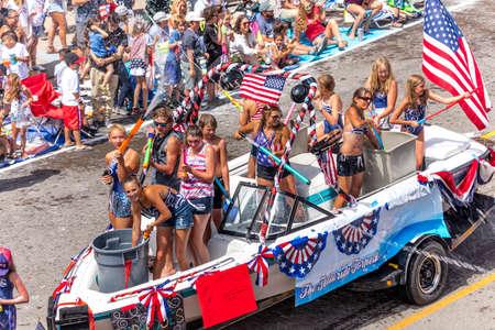 TELLURIDE, COLORADO, USA - July 4, 2018 - Annual  Independence Day Parade, Telluride, Colorado Colorado Avenue Editorial