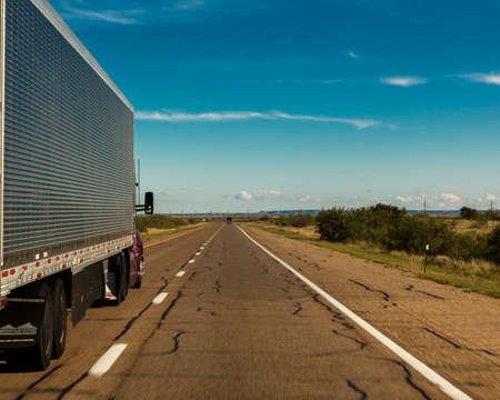 OCTOBER 10, 2018 - Amarillo Texas, USA - Truck drives on Interstate 10 towards Amarillo Texas Editorial