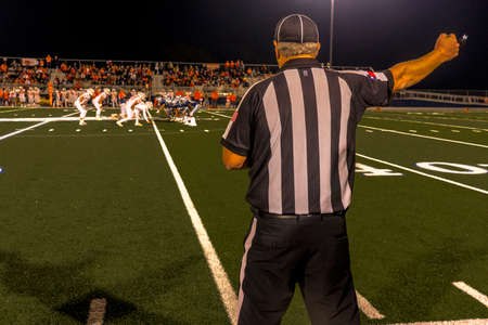 OCTOBER 12, 2018, PARIS TEXAS, USA - referee at Paris Texas Wildcats High School Division 4 Football Game
