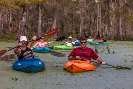 OCTOBER 14, 2018 - Lafayette, Louisiana, USA - Kaya,ing in Cajun Swamp & Lake Martin, near Breaux Bridge and Lafayette Louisiana