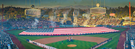 OCTOBER 26, 2018 - DODGER STADIUM, LOS ANGELES, CALIFORNIA, USA - giant US Flag is unfurled for World Series Game 3 opening ceremonies of Los Angeles Dodgers versus Boston Red Sox. Dodgers won 3 to 2 in 18 innings