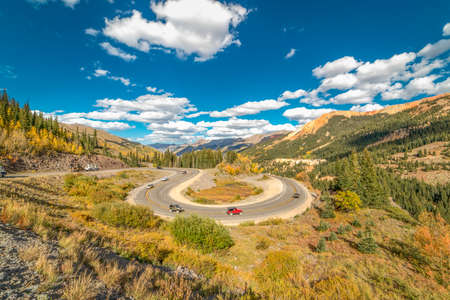 SEPT 18, 2018 - ROUTE 550 SILVERTON, COLORADO, USA - Circular elevated view of Colorado State Highway 550, known as Million Dollar Highway threads its way from Silverton to Ouray