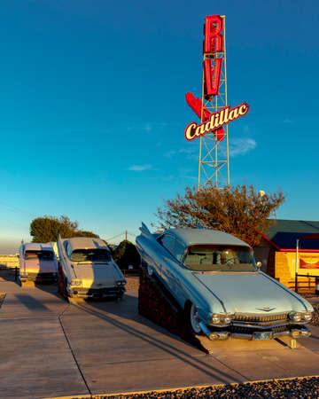 OCTOBER 10, 2018 - Cadillac Ranch outside of Amarillo Texas - Americana art installation Editorial