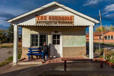 OCT 9, 2018. TRUCHAS NEW MEXICO, USA - self portrait of Joe Sohm photographer - Handweaving Workshop Truchas, New Mexico