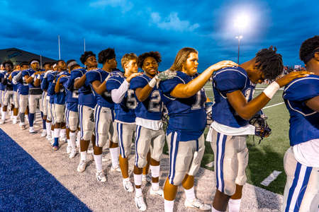 OCTOBER 12, 2018, PARIS TEXAS, USA - Star Spangled Banner performed. - Paris Texas Wildcats defeat Celina, Bobcats 54-7 in High School Division 4 Football Game