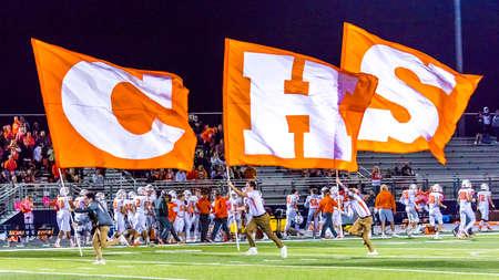 OCTOBER 12, 2018, PARIS TEXAS, USA  - Celina Cheerleaders at high school football game - Paris Wildcats win over Celina Bobcats 54-7 in High School Football Game Publikacyjne