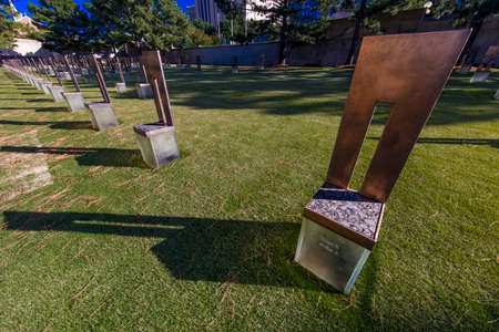 OCTOBER 11,2018  - Oklahoma City, USA - Empty Chair at Oklahoma City National Memorial  & Museum shows empty chairs Publikacyjne
