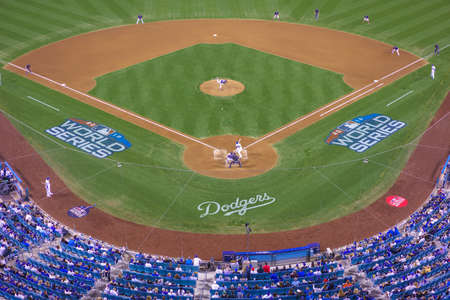 OCTOBER 26, 2018 - LOS ANGELES, CALIFORNIA, USA - DODGER STADIUM: LA Dodgers defeat Boston Red Sox 3-2 in game 3, the longest game in World Series History - 18 innings, 7 hours , 20 minutes. Редакционное