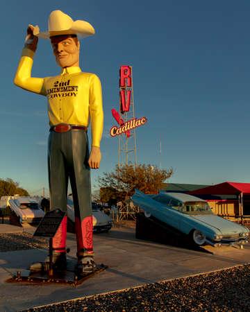 OCTOBER 10, 2018 - Cadillac Ranch outside of Amarillo Texas - Americana art installation