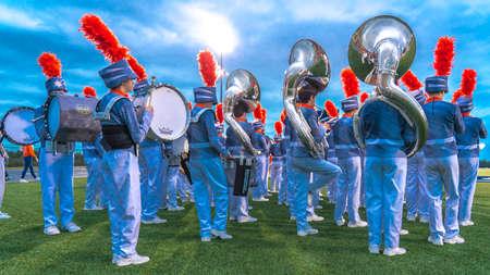 OCTOBER 12, 2018, PARIS TEXAS, USA  - Celina marching band at high school football game - Paris Wildcats win over Celina Bobcats 54-7 in High School Football Game Publikacyjne