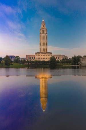 OCTOBER 14, 2018, Baton Rouge, Louisiana, USA - Louisiana State Capitol, Baton Rouge, Louisiana at dusk Publikacyjne