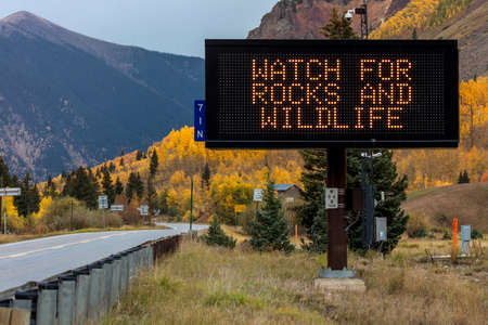 SEPT 19, 2018 - TELLURIDE COL, USA - Watch for Rocks and Wildlife, Telluride, Colorado