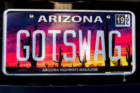 SEPT 13, 2018 ARIZONA, USA -Arizona license plate reads