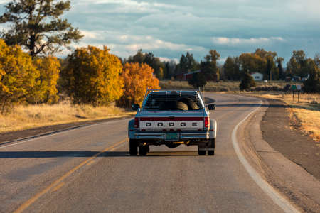 October 8,, 2018, USA - Dodge Pickup truck drives in Southern Colorado near Chama New Mexico Publikacyjne