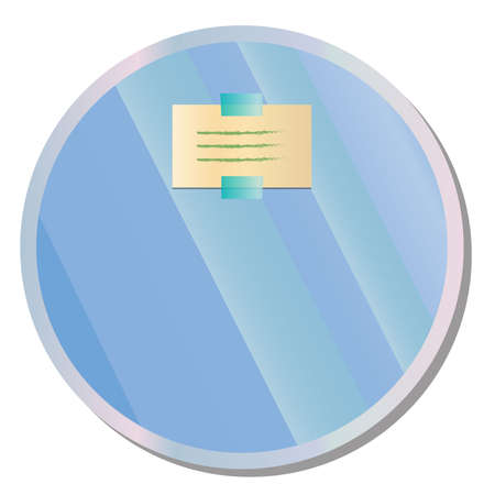 sticky: Paper note on round wall mirror Illustration