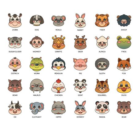Animals  , Thin Line and Pixel Perfect Icons Иллюстрация