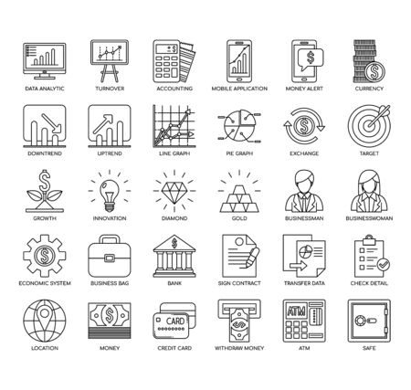 Financial , Thin Line and Pixel Perfect Icons